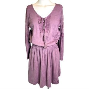 AEO Bell Lace Sleeve Cinched Waist Tie Dress